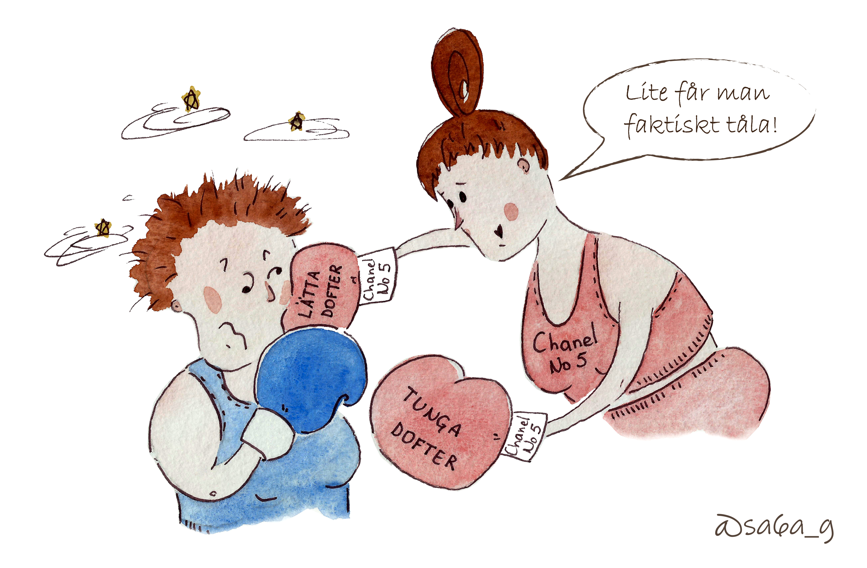 """Kvinna med linne med texten """"Chanel no 5"""" slår mig i ansiktet med boxarhandskar. Ena boxarhandsken står det """"tunga dofter"""" på och den andra boxarhandsken står det """"lätta dofter"""" på. Kvinnan säger """"Lite får man faktiskt tåla!"""""""