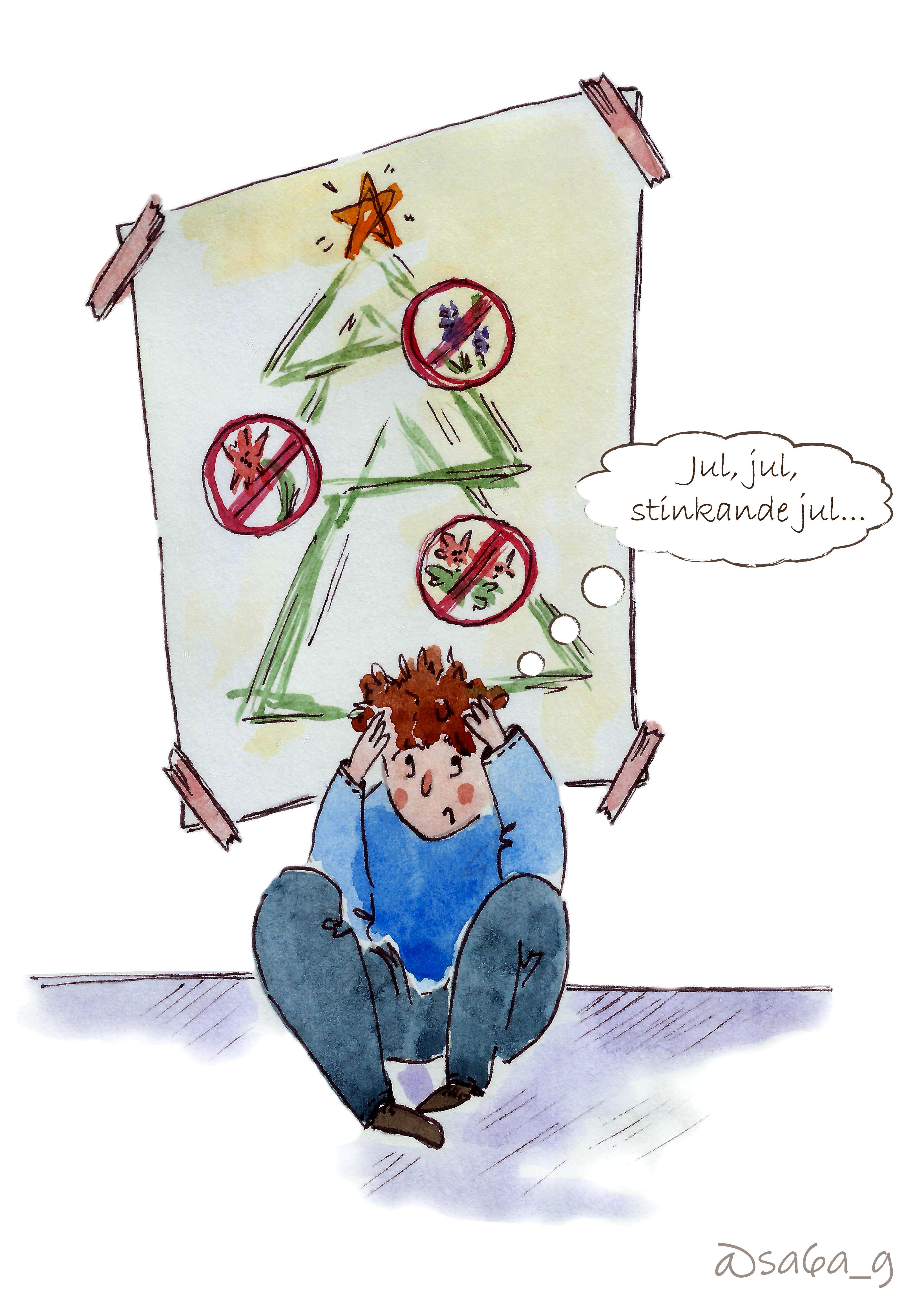 """Jag sitter under en bild på en julgran och tänker """"Jul, jul, stinkande jul"""". På julgranen är också bilder på en julstjärna, hyacint och amaryllis."""