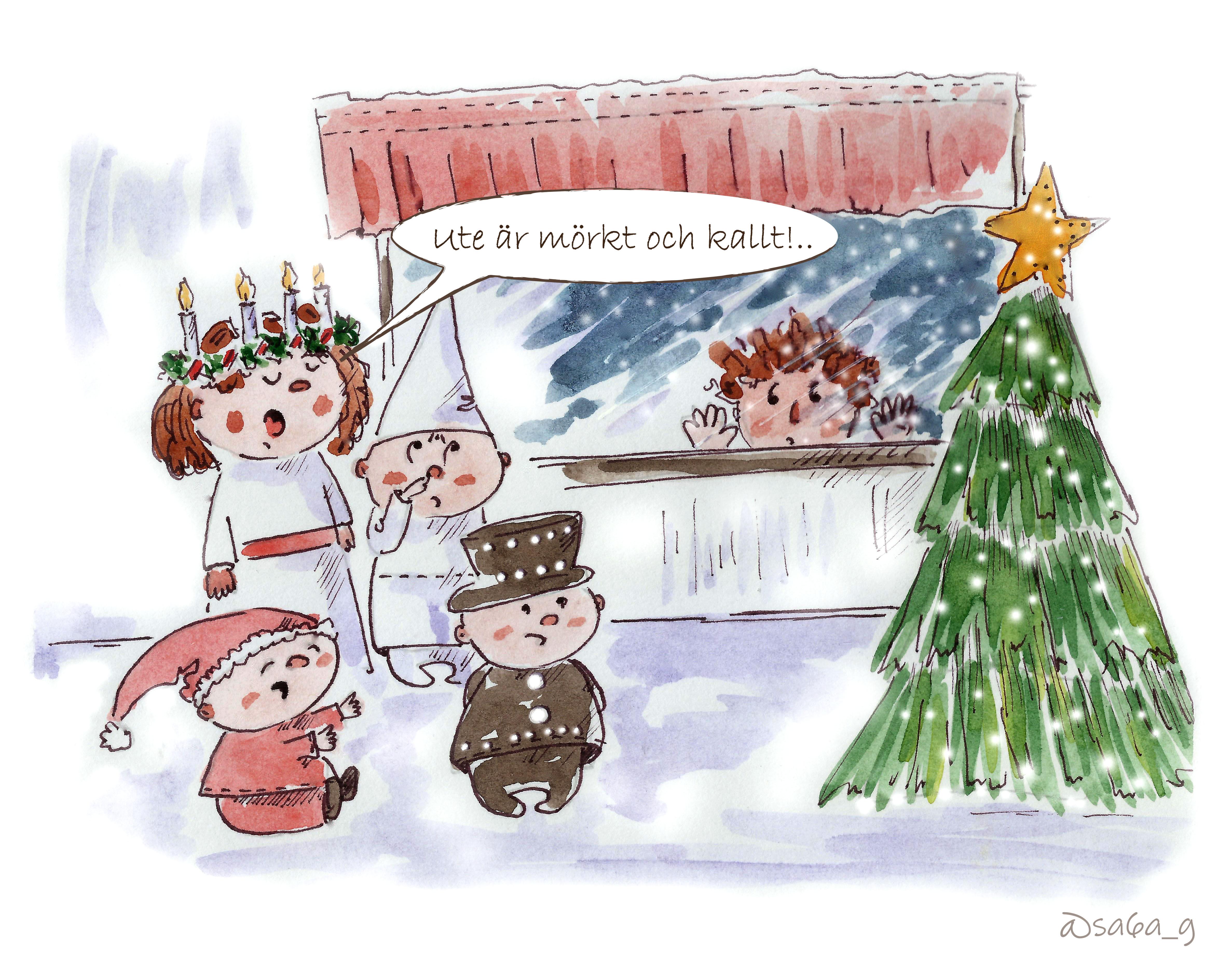 """Luciaklädda barn står inomhus och sjunger """"Ute är mörkt och kallt"""". Jag står utanför fönstret och tittar in."""