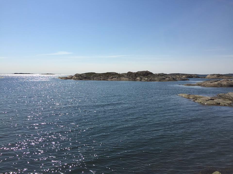 Blått glittrande hav.